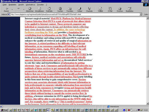 Fig. 3a+b. The words which are underlined and highlighted red in the plagiarism.org report (a) were lifted from the website medpics.org (b)