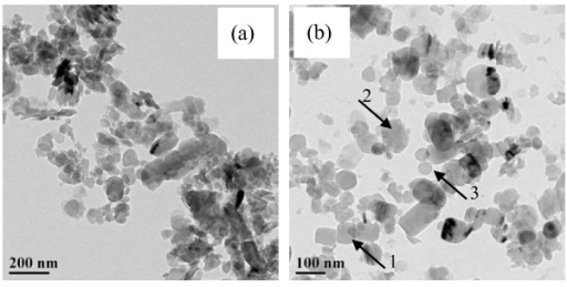 HRTEM image of the BN nanoparticles. (a) 140 nm (b) 70 nm.