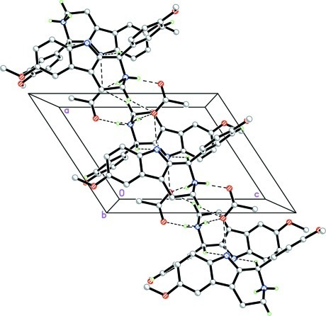 The crystal packing of the title compound. Dashed lines indicate hydrogen bonds. H atoms not involved in the hydrogen interactions have been omitted for clarity.
