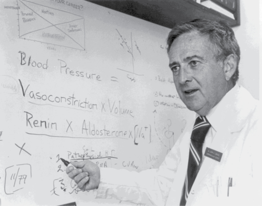 John Laragh explaining his volume-vasoconstriction hypothesis of blood pressure control (1972).