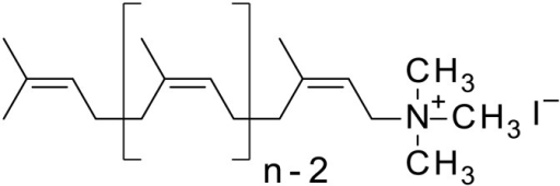 Structure of Amino-Prenols, the AP molecule contains an polyisoprenoid chain composed of n isoprene residues.