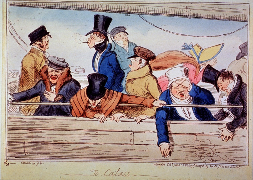 <p>Passengers aboard ship hang in misery over the railing of the ship; a woman, face obscured by bonnet, further shields her eyes of the wretched scene.</p>