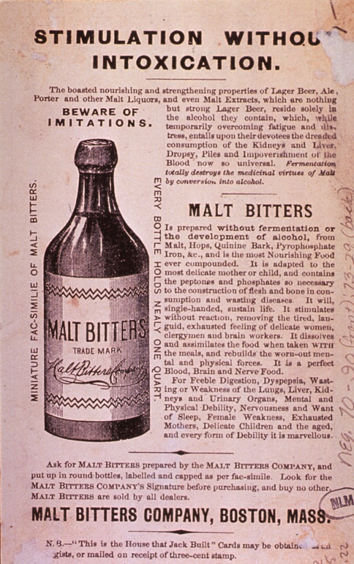 <p>Malt Bitters &quot;is prepared without fermentation or the development of alcohol,....&quot;  Visual motif:  Showing a bottle of Malt Bitters with accompanying text.</p>
