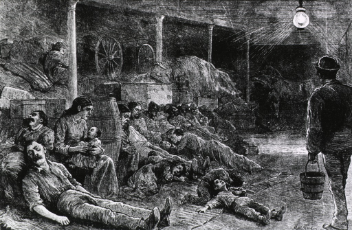 <p>Many people are sprawled out on the floor among barrels and cartons, wagons, hay, and at the far end of the deck, horses.</p>