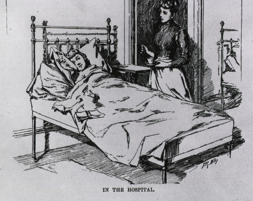 <p>In the hospital, of New York Polyclinic school - a nurse attends a female patient who is in bed.</p>