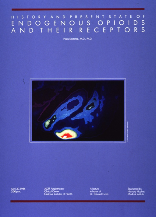 <p>Periwinkle poster with white lettering and burgundy accents, advertising a lecture by Dr. Hans Kosterlitz, April 1986.  A multicolor computer image of a cell, created by Miles Herkenham, dominates center of poster.  Four separate columns near bottom of poster list date, time, location, rationale, and sponsor for lecture.</p>