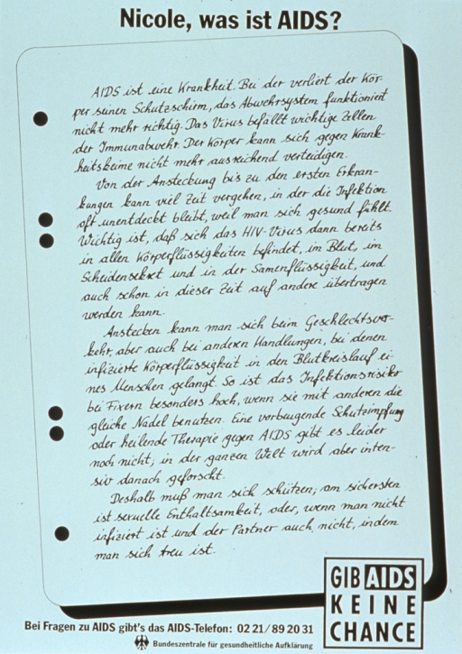 <p>White poster with black lettering.  Title at top of poster.  Most of poster is made to look like a sheet of notepaper, on which a student has written an essay about AIDS.  The essay appears to discuss the transmission of AIDS.  Note in lower right corner.  Publisher information at bottom of poster.</p>