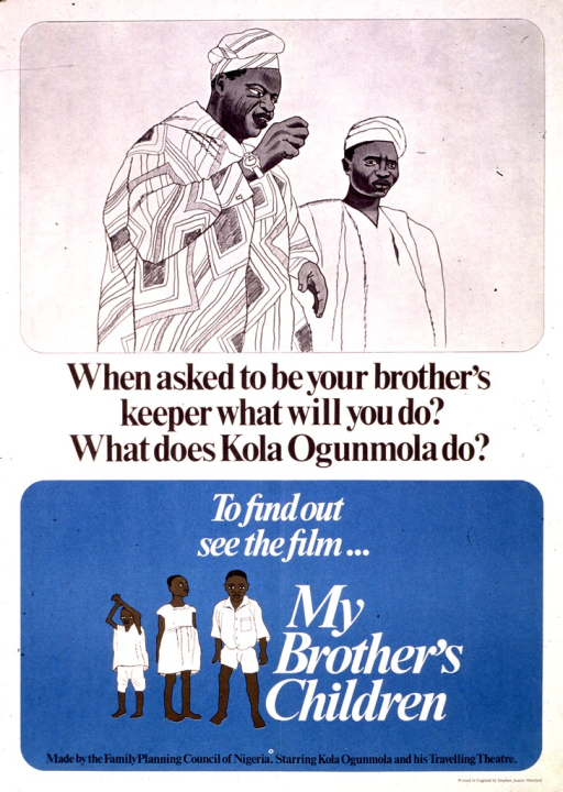 <p>White and blue poster with black and white lettering.  Top of poster features an illustration of two men.  Title at center of poster.  Caption in lower portion of poster, along with an illustration of three children.  Note and publisher information at bottom of poster.</p>