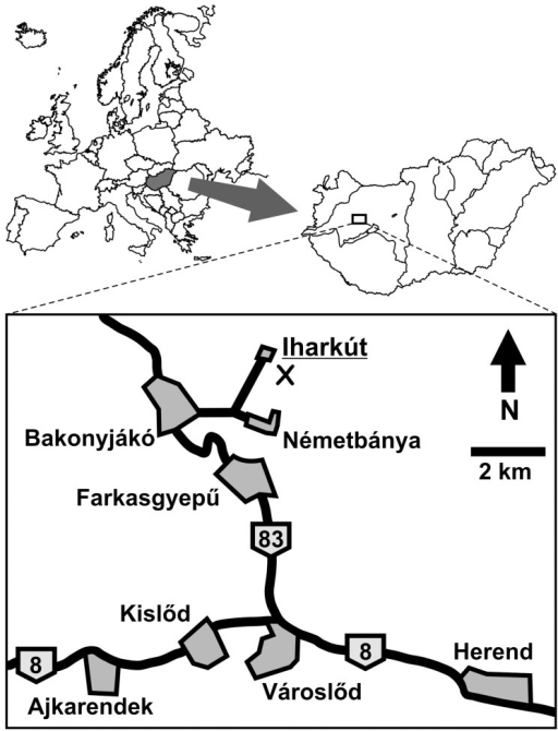 "Location map of the Iharkút locality in Hungary.""X"" marks the locality."