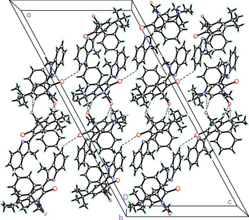 The molecular packing for C27H29BrN4O viewed along the b axis showing linking of the hydrogen bonded dimers into zigzag chains in the [2 0 1] direction by C—H···Br interactions (N—H···O and C—H···Br interactions shown as dashed bonds).