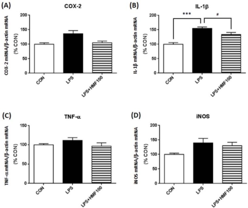 Effects of HMF on the expression of mRNAs for inflammatory markers in the hippocampus. Hippocampal tissues were prepared two days after LPS intrahippocampal injection, and RT-PCR analysis was performed with specific primers. Densitometric quantification of mRNAs of COX-2 (A), IL-1β (B), TNF-α (C) and iNOS (D) band intensities normalized by the β-actin mRNA band in the hippocampus. Values are the means ± SEM. Symbols are significantly different for the following conditions: CON vs. LPS, *** p < 0.001; LPS vs. LPS + HMF100, #p < 0.05.