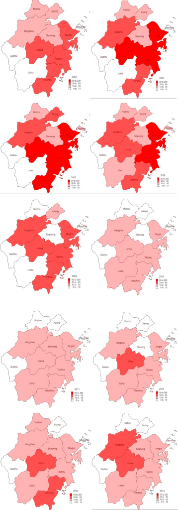 Geographical distribution of malaria cases in Zhejiang Province from 2005 to 2014.