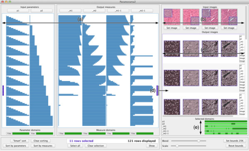 Visual parameter optimisation for biomedical image processing. (a) Every data record is represented by a row in a tabular visualisation, with columns for input parameters at the left and columns for output measures at the right. (b) Input images are shown at the top right of the image browser. (c) The image-based output produced for each input image is displayed below it in the image browser. (d) To view image-based output, users select rows in the tabular visualisation. The output images that are shown are the ones produced when the parameter values corresponding to the selected rows in the table are applied to the input images. (e) A list of selected parameters and measures is provided to show which parts of their domains the selected output images correspond to. The data shown here are from the case study and show results of a parameterised colour deconvolution technique applied to stained histology images of a liver section and lymphoma (a type of blood cancer).