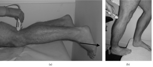 (a) Patient prone and pushing against a wall (in the direction of the arrow) at 25% maximum plantarflexion force. (b) Patient erect and plantarflexing against full body weight.
