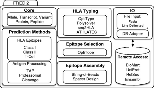 Schematic overview of FRED 2. FRED 2 is organized into modules dealing with epitope, cleavage and TAP prediction, HLA typing, epitope selection and assembly. The framework also offers accession to biological databases