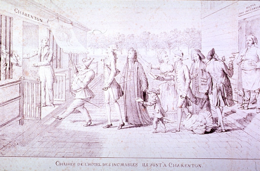 <p>Caricature of patients with mental disorders:  A group of patients in a grand procession are leaving the Hotel Des Incurables and crossing the court yard to the Charenton.</p>