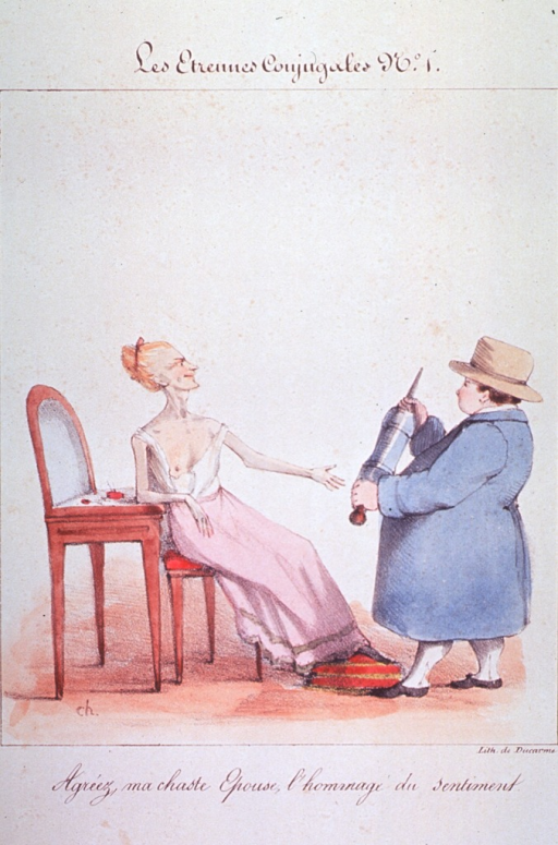 <p>An old woman seated at a vanity, she is wearing a nightdress off the shoulder with right breast exposed; a portly man in coat and hat is facing her holding a clyster, to which she has extended her left arm.</p>