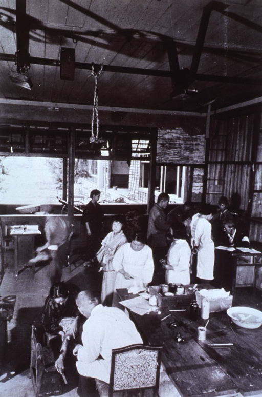 <p>Interior view of Osiba Relief Hospital Treatment Room, showing injured.</p>