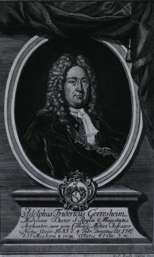 <p>Head and shoulders, right pose, full face; in oval on pedestal with coat-of-arms.</p>