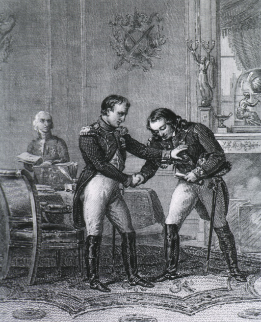 <p>Scene in French drawing-room, Larrey grasping Napoleon's hand and beginning to bow.</p>