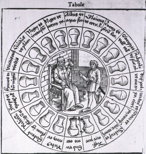 <p>A circle or wheel of urine flasks with analysis of the contents; an inner circle shows a scene with a physician sitting in a chair holding up a urine flask to make a diagnosis based on analysis of the contents; a man stands before him.</p>