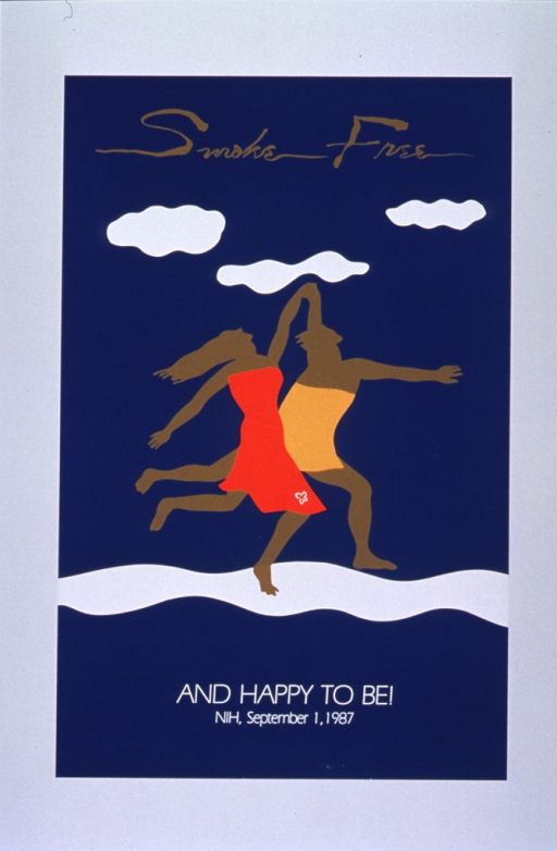 <p>Teal silkscreen poster with tan and white lettering, featuring two tan figures (one definitely female and wearing red, one indeterminate (male?) and wearing yellow) running hand-in-hand along a white path under three white clouds.</p>