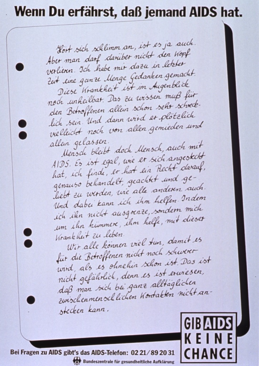 <p>White poster with black lettering.  Title at top of poster.  Most of poster is made to look like a sheet of notebook paper bearing an essay about treating people with AIDS humanely and understanding that regular daily contact does not transmit the disease.  Note in lower right corner.  Publisher information at bottom of poster.</p>