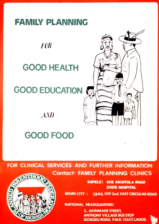 <p>Red and white poster with multicolor lettering.  Title in upper-left portion of poster.  Visual image is an illustration of a six-member family.  Three clinic addresses and publisher information at bottom of poster.</p>