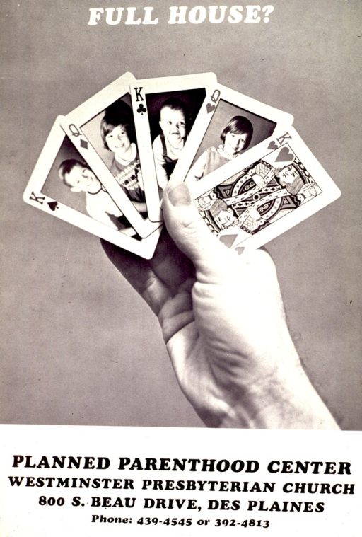 <p>Black and white poster.  Title at top of poster.  Visual image is a b&amp;w photo reproduction featuring a hand holding five playing cards.  Four of the cards have pictures of children in place of traditional kings and queens; the fifth card is a standard king of hearts.  Publisher information below photo.</p>