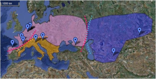 Map representing Neanderthal geographical distribution in groups.