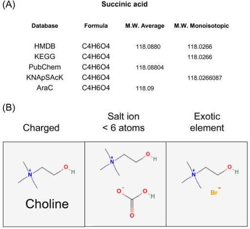 Metabolite data representations in several web-accessible metabolite databases. (a) Accurate mass information relating to succinic acid in several large databases (see legend to Table 1 for abbreviations). (b) three structurally diverse entries for choline in PubChem.