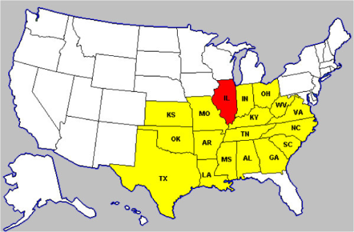 Map of the US middle west and south states used in the Openi