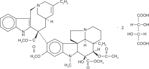 Chemical structure of vinorelbine tartrate (trade name, Navelbine®).14