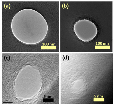 TEM micrographs showing thermal shrinking of silicon dioxide nanopore. (a) TEM micrograph of ~250 nm pore drilled with FIB in 300 nm thick oxide membrane. (b) TEM micrograph of the nanopore after 5 min of thermal shrinking at 1150°C. The diameter of the nanopore was ~150 nm. The wavy surface of the oxide at nanopore edges shows the shrinking process due to viscous flow of oxide. (c) Nanopore after 10 min. The diameter is ~20 nm. (d) Nanopore after another 10 min and 40 s showing the diameter of ~3 nm.