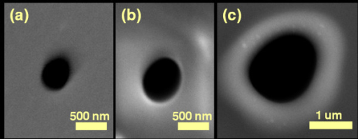SEM micrographs show pore expansion. (a) The nanopore before thermal process. The initial diameter of nanopore was ~350 nm and thickness of the oxide membrane was ~300 nm. (b) The nanopore after processing at 1150°C for 15 min. The diameter increased to 650 nm. (c) The nanopore further expanded to 1.5 μm after 50 min heating at 1150°C.