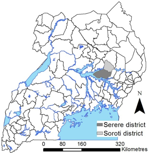 Map Of Uganda Highlighting The Study Area Serere And Soroti Districts Note