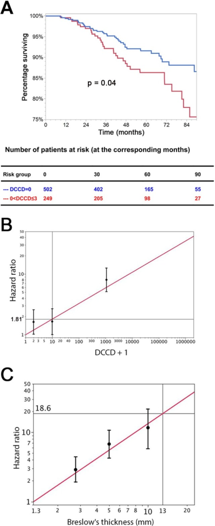 The prognostic impact of disseminated cancer cells in sentinel nodes.(A) The figure shows the Kaplan-Meier survival estimates for 502 patients with DCCD = 0 (blue line) and for 249 patients with 0< DCCD ≤3 (red line). Even patients with low numbers of DCCs had a significantly reduced survival in comparison to patients without DCCs (86% 5-y survival versus 92% 5-y survival; hazard ratio 1.63, 95% CI: 1.02–2.58). (B) Hazard ratios (in black) for the three DCCD categories of Table 2 together with their 95% confidence intervals as a function of their median DCCD values on a log scale. The red line provides the hazard ratios for the linear model where log(DCCD + 1) is entered as a continuous variable. The predicted curve is within the confidence intervals. The unit risk ratio 1.81 is the hazard ratio corresponding to a 10-fold increase of DCCD + 1. (C) Relation of Breslow's thickness and risk of death from melanoma. Hazard ratios (in black) are given for the three groups of Table 2 (melanomas with 2 mm ≤ tumor thickness ≤4 mm; 4< tumor thickness ≤8 mm; tumor thickness >8 mm) together with their 95% confidence intervals as a function of their median thickness values on a log scale. The red line shows the predicted hazard ratios for the model where log(thickness) enters as a continuous variable. We show only the values ≥1.3 mm, i.e., the median value of the reference group in Table 2. The predicted line is within the confidence intervals. The unit hazard ratio 18.6 corresponds to a 10-fold increase of thickness.
