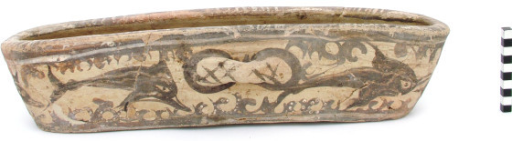 Akrotiri, Thera. Open vessel decorated with dolphins and marine vegetation (Akrotiri Excavations Archive).