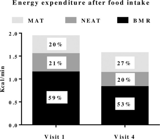 Six female subjects assessed for energy expenditure during one hour after a 600 kcal standard meal; from 18:20 to 19:20.Assessments were performed before, visit 1, and at weight stability 20 months after, visit 4, gastric bypass surgery. Data are presented as mean values in kcal/minute and as percentage of total energy expenditure.