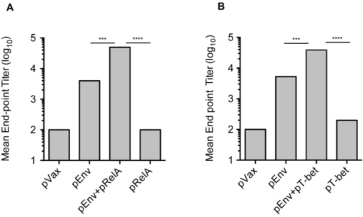 Improved B cell responses with pEnv vaccination and co-administered transcriptional molecular adjuvant. B cell/antibody responses were assessed in the sera of vaccinated mice (n = 4/group) seven days following the third immunization with pEnv alone, pEnv in combination with either pRelA or pTbet, each of the molecular adjuvants alone, or with empty vector control plasmid (pVax1). Anti-Env p120 antibody-binding titers were determined by ELISA. Data are presented as the mean endpoint titers. Statistically significant values are indicated; ***p < 0.001 (comparison between pEnv alone and pEnv + pRelA or pEnv + pT-bet) and ****p < 0.0001 (comparison between pRelA alone and pEnv + pRelA or pT-bet alone and pEnv + pT-bet).