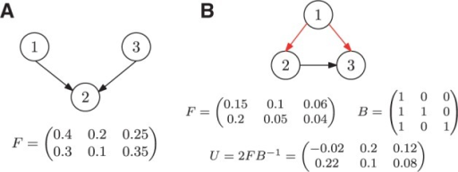 Spanning arborescences of the ancestry graph. (A) F cannot be factorized as its ancestry graph does not admit a spanning arborescence. (B) Red arcs indicate a spanning arborescence T of the ancestry graph of F with corresponding matrix B. B does not generate F as the matrix