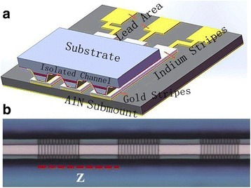 The schematics of a the DFB-QCL array is epitaxial side down bonded on a patterned AlN submount. b The optical microscope image of a sample grating DFB ridge, and Z is the sampled period