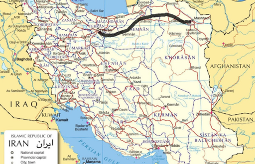 The Road map From Tehran to Mashhad an 892 km Journey Openi