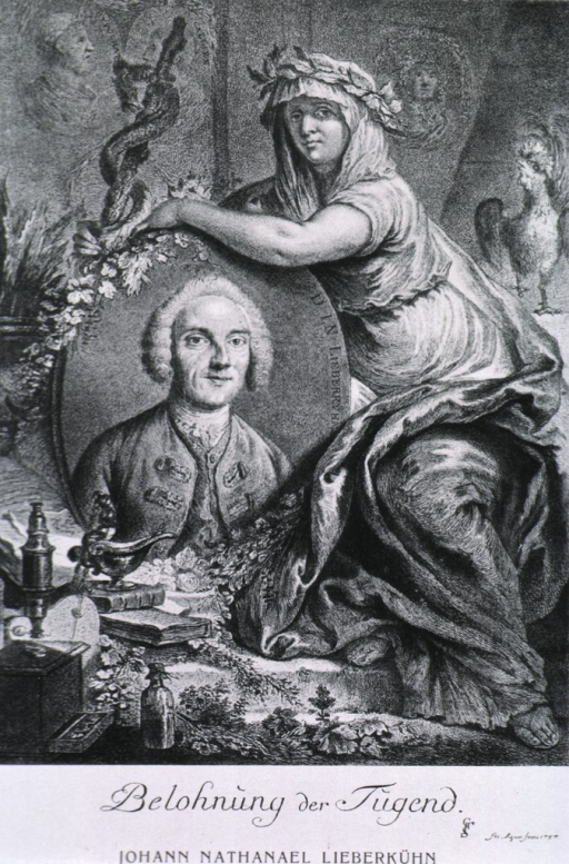 <p>Head and shoulders, full face; in oval against elaborate background showing seated figure and medical instruments.</p>