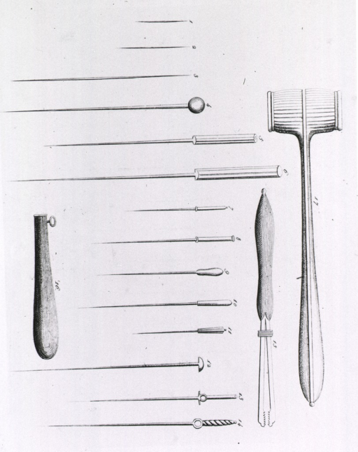 <p>Fourteen different types of acupuncture needles and carrying cases and tapping hammers.</p>