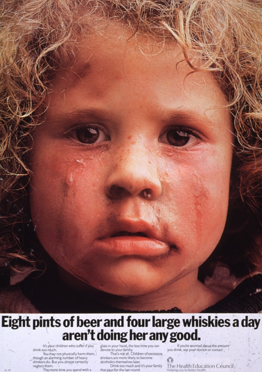 <p>Poster features photo image of a young, blond-haired girl.  Girl's face is dirty and streaked with tears.  Her nose is running.  Title and lengthy caption appear under photo.  Caption stresses negative consequences of heavy drinking for family and suggests contacting a doctor or the Health Education Council for help.</p>