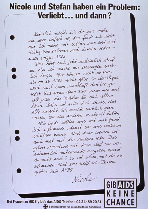 <p>White poster with black lettering.  Title at top of poster.  Most of poster is made to look like a sheet of notebook paper bearing a letter from Nicole to her boyfriend, Stefan.  The letter states her desire for the couple to learn and talk about AIDS.  Note in lower right corner.  Publisher information at bottom of poster.</p>