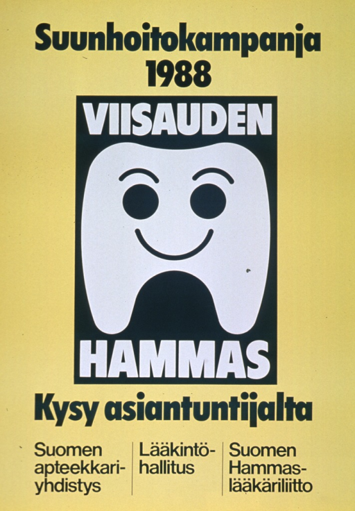 <p>Predominantly yellow poster with green and white lettering.  Title at top of poster.  Visual image is an illustration of a smiling tooth.  Tooth is surrounded by note text.  Caption below illustration.  Publisher information at bottom of poster.</p>