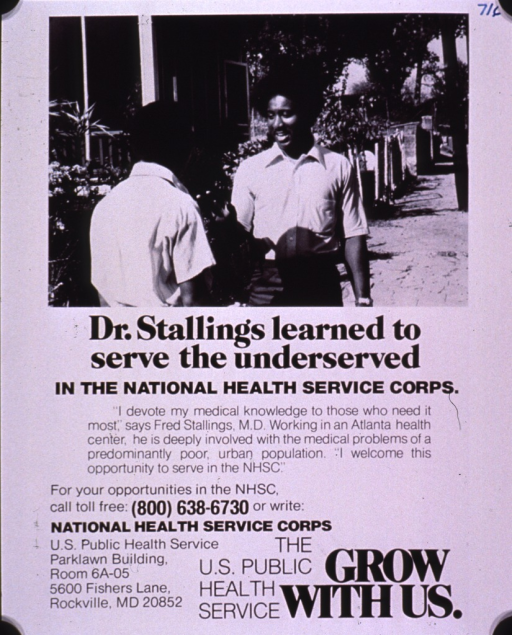 <p>Campaign to attract physicians to underserved urban populations through the National Health Service Corps; visual motif: an African American man talking to another African American man in a residential neighborhood.</p>