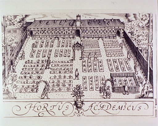 <p>Exterior view of large garden surrounded by high walls; several caretakers are present and a long building is at the far end.</p>